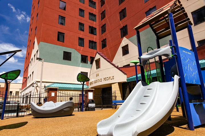 Low angle view of playground including slide
