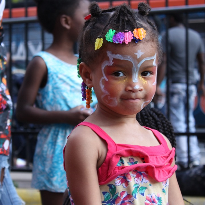 Girl decorated with face paint