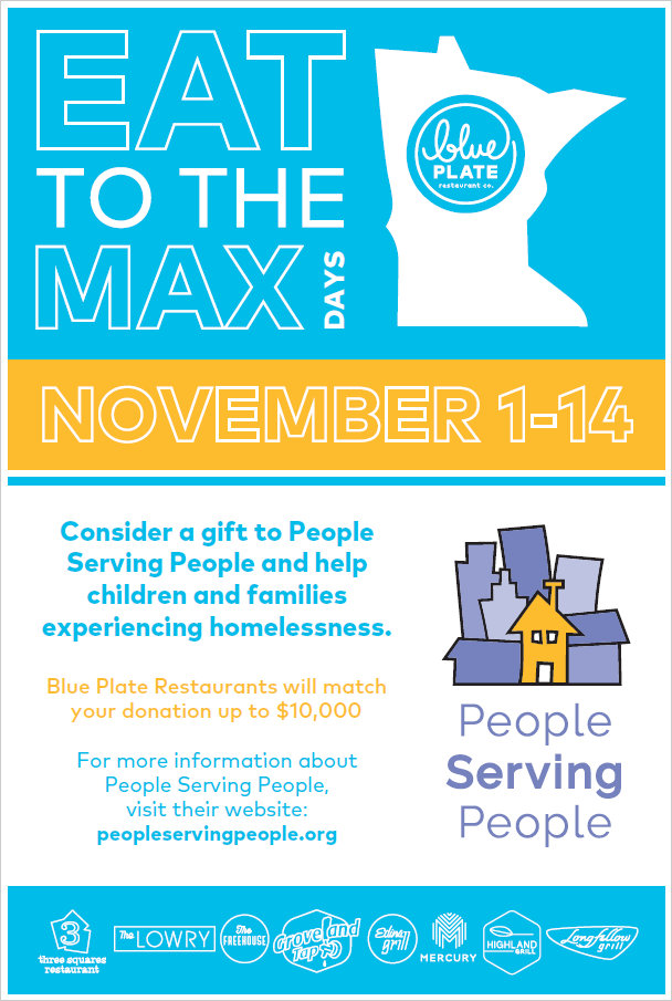 Eat to the Max poster - Dine & Donate November 1-14