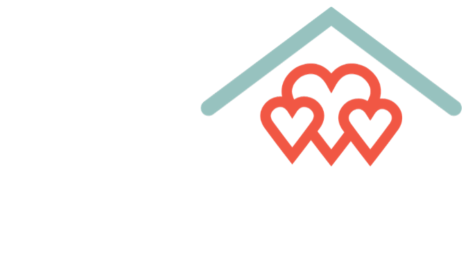 red hearts under teal roof icon