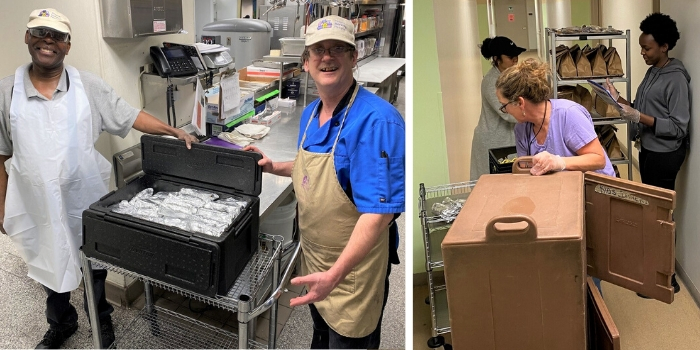 2 photos - staff delivering meals