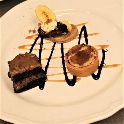 3 mini desserts on plate