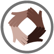 racial equity icon - 4 hands of different skin colors in a circle