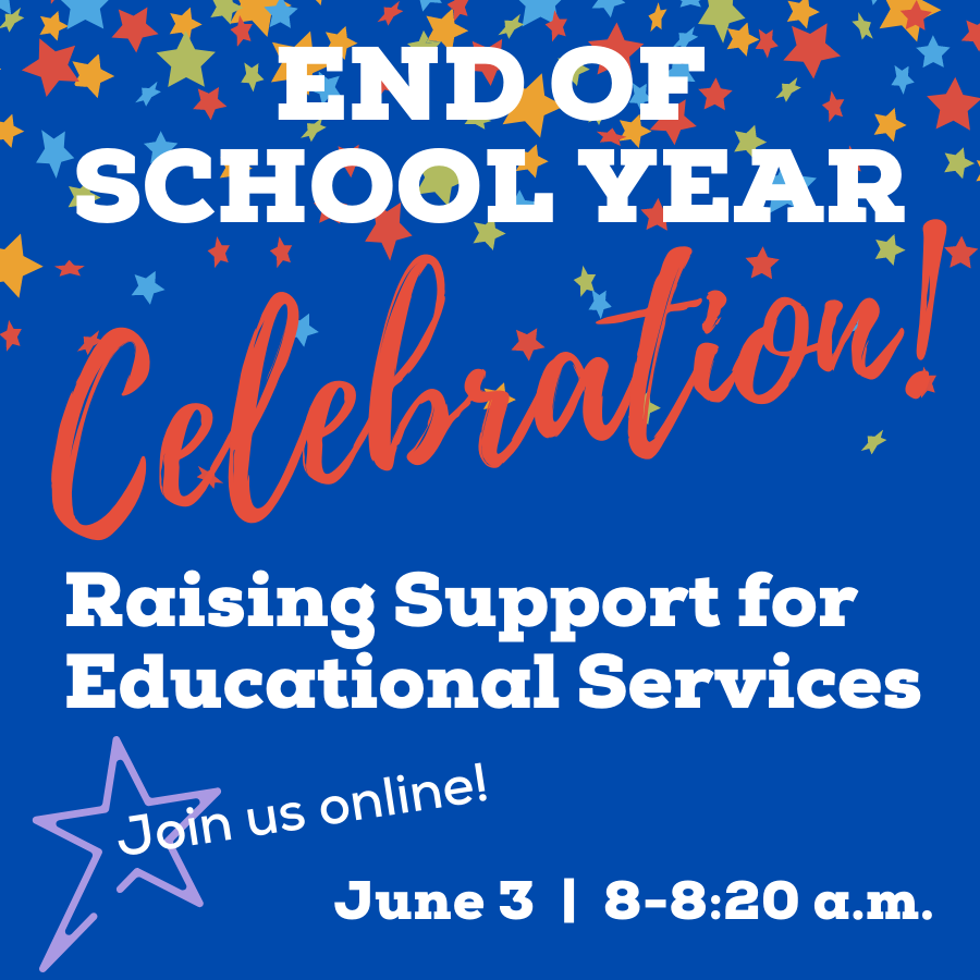 event icon - cobalt blue background, red & white type with bright colored star confetti raining down. End of School Year Celebration June 3, 8-8:30am